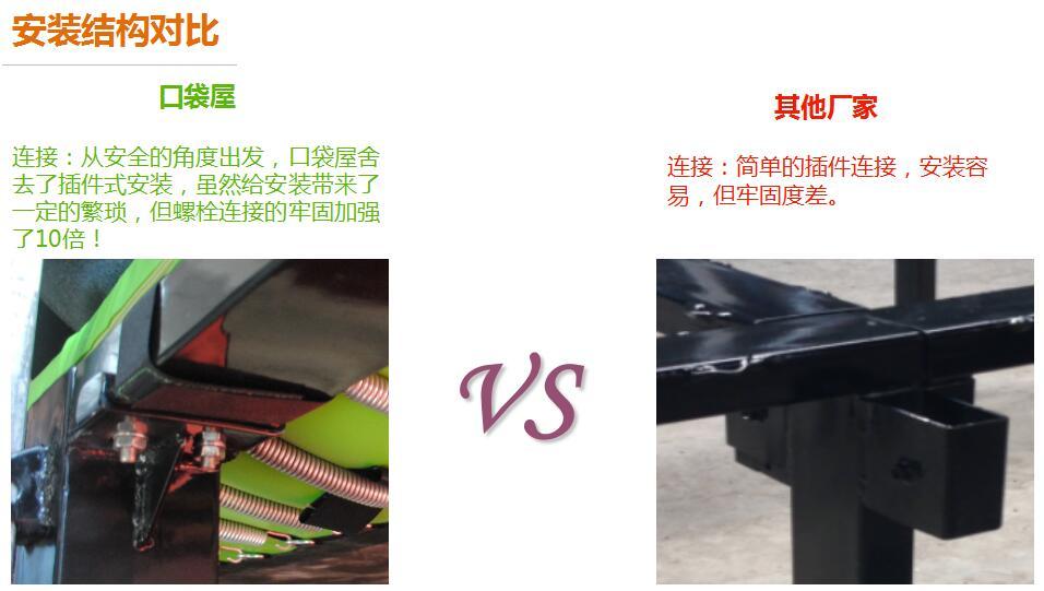 口袋屋蹦床产品安装结构对比