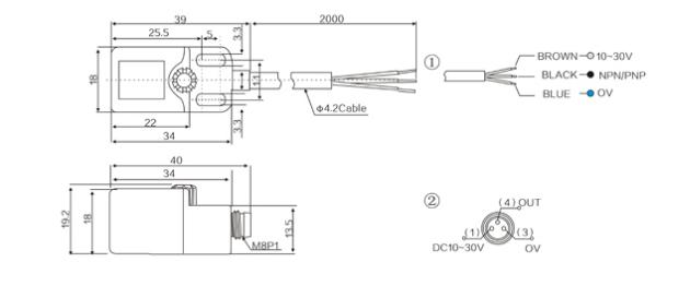RN04 Angular Column inductive sensor