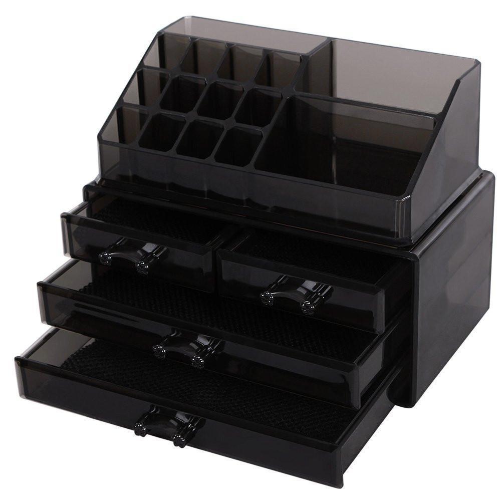 Custom Color Acrylic Cosmetic Organizer Box Black Makeup Display Box